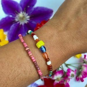 Multi Strand Seed Bead Bracelet Multicolored Boho